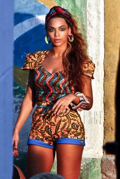 Beyonce rocking an Ankara short and top