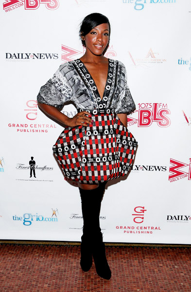 Dawn Richard in deola sagoe african print bubble dress and knee high boots