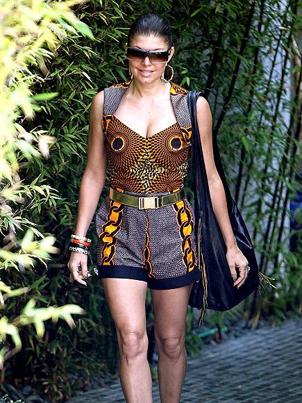 Fergie rocking ankara shorts and top